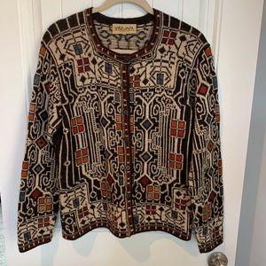 Intiwara Sweaters - Intiwara alpaca button up cardigan sweater size lg